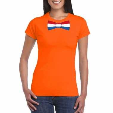Oranje t shirt nederland vlag strikje dames