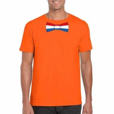 Oranje t shirt nederland vlag strikje heren