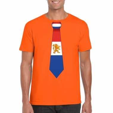 Oranje t shirt nederland vlag stropdas heren