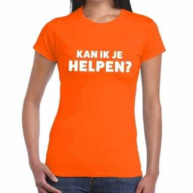 Oranje tekst shirt kan ik je helpen bedrukking dames