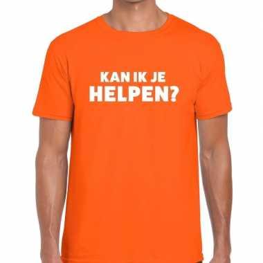 Oranje tekst shirt kan ik je helpen bedrukking heren