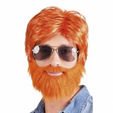Oranje verkleed pruik baard snor