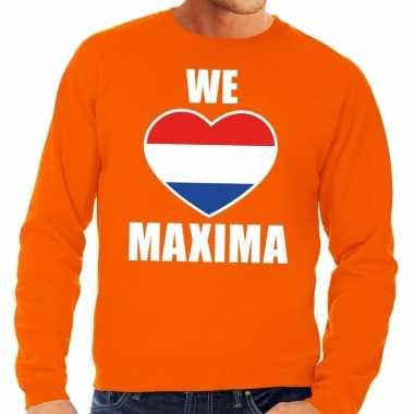 Oranje we love maxima sweater heren