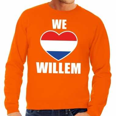 Oranje we love willem sweater heren