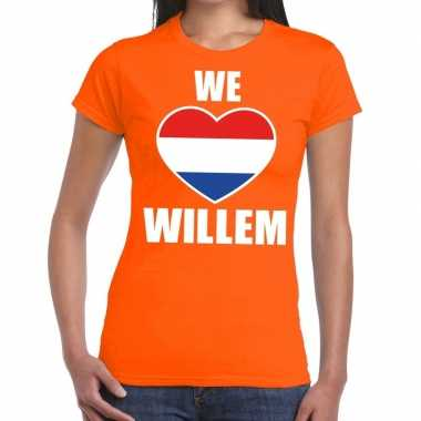 Oranje we love willem t shirt dames