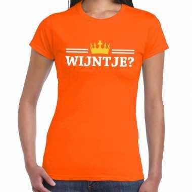 Oranje wijntje kroon shirt dames
