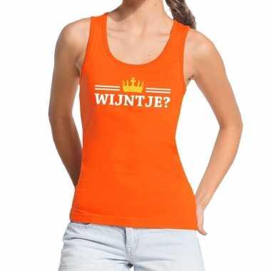 Oranje wijntje kroontje tanktop / mouwloos shirt dames