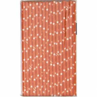 Papieren rietjes oranje 16 stuks