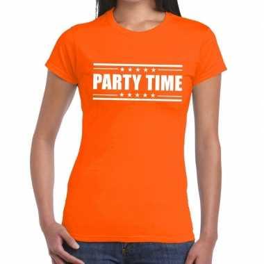 Party time t shirt oranje dames