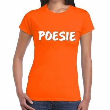 Poesie fun t shirt oranje dames