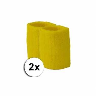 Pols zweetbandjes pakket geel