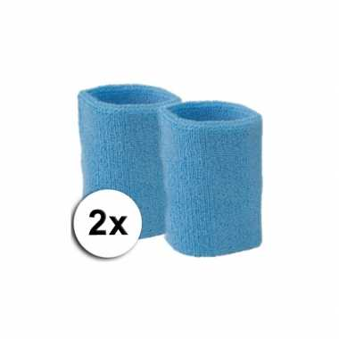 Pols zweetbandjes pakket lichtblauw