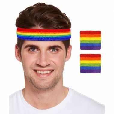 Regenboogvlag kleuren hoofd polsbandjes set