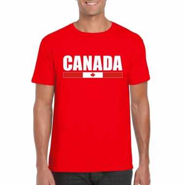 Rood canada supporter t shirt heren