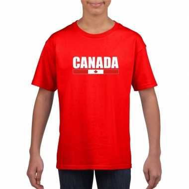 Rood canada supporter t shirt kinderen