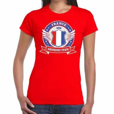 Rood france drinking team t shirt dames