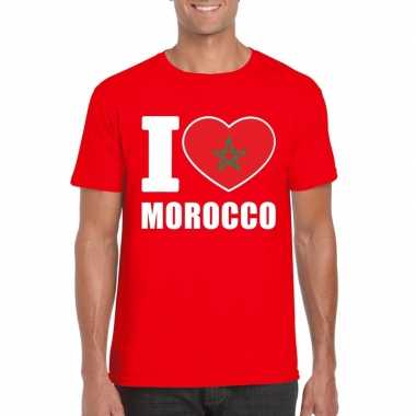Rood i love marokko fan shirt heren