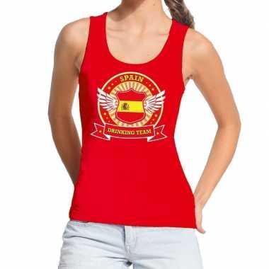 Rood spain drinking team tanktop / mouwloos shirt dames