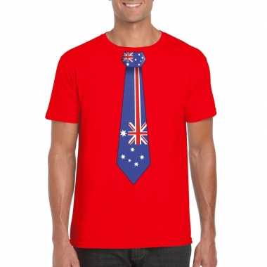 Rood t shirt australie vlag stropdas heren