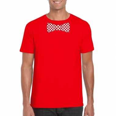 Rood t shirt geblokte brabant strik heren