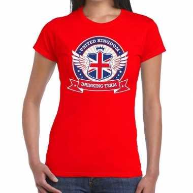 Rood united kingdom drinking team t shirt dames
