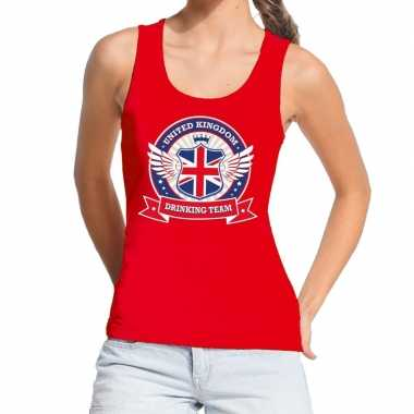 Rood united kingdom drinking team tanktop/mouwloos shirt dames