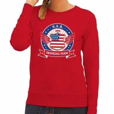 Rood usa drinking team sweater dames