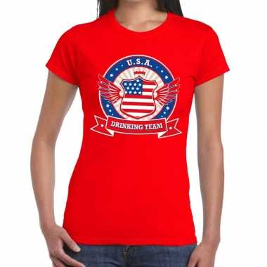 Rood usa drinking team t shirt dames