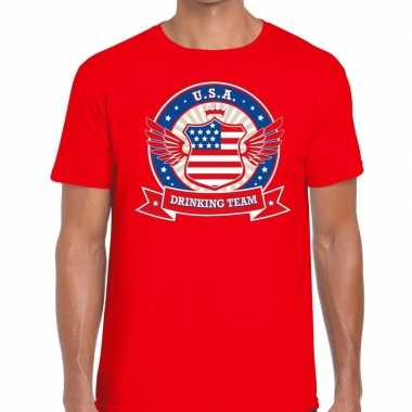 Rood usa drinking team t shirt heren