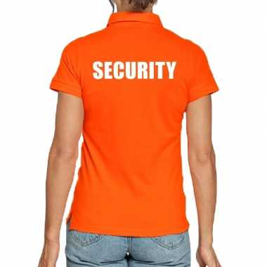 Security poloshirt oranje dames