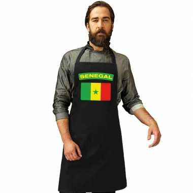 Senegal vlag barbecueschort/ keukenschort zwart volwassenen