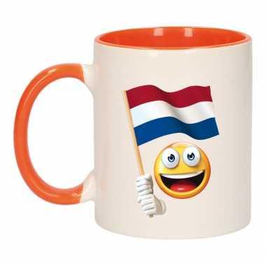 Smiley vlag nederland mok/ beker oranje wit 300 ml