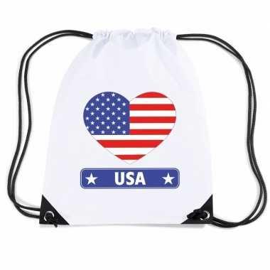 Sporttas rijgkoord amerika vlag hart