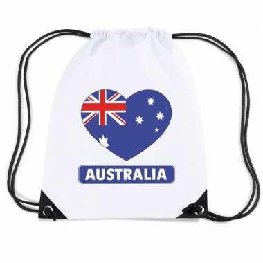Sporttas rijgkoord australie vlag hart