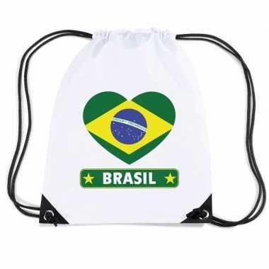 Sporttas rijgkoord brazilie vlag hart