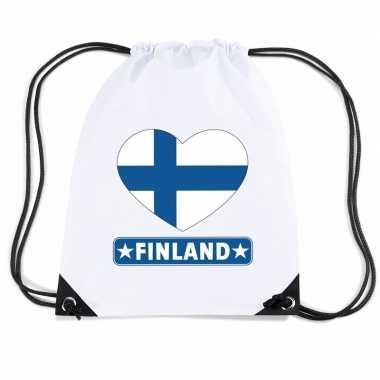 Sporttas rijgkoord finland vlag hart