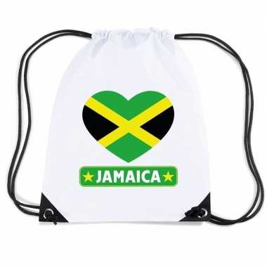 Sporttas rijgkoord jamaica vlag hart