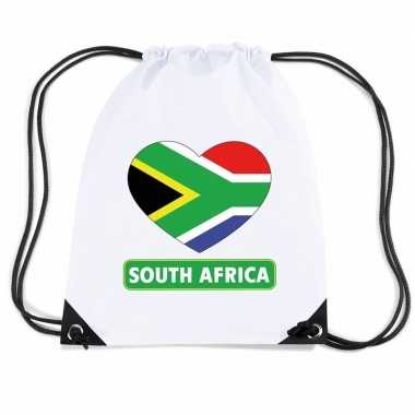 Sporttas rijgkoord zuid afrika vlag hart