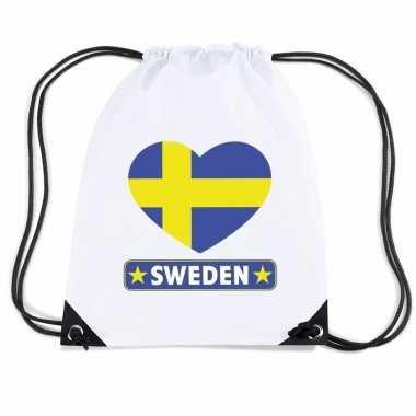 Sporttas rijgkoord zweden vlag hart