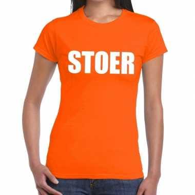 Stoer tekst t shirt oranje dames