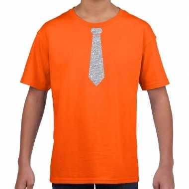 Stropdas zilver glitter t shirt oranje kinderen