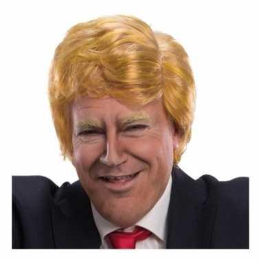 Synthetische blond oranje pruik donald trump