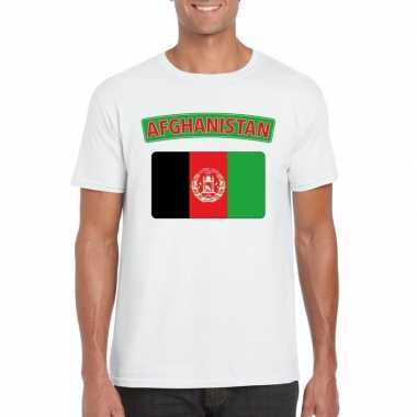 T shirt wit afghanistan vlag wit heren