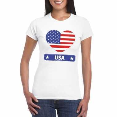 T shirt wit amerika/ usa vlag hart wit dames