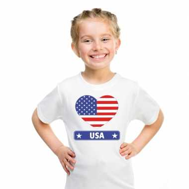 T shirt wit amerika/ usa vlag hart wit kind
