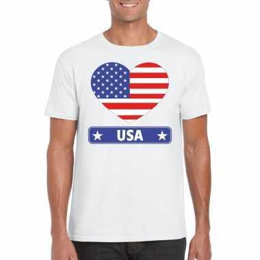 T shirt wit amerika vlag hart wit heren