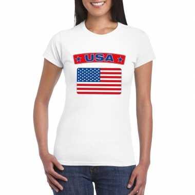 T shirt wit amerika vlag wit dames