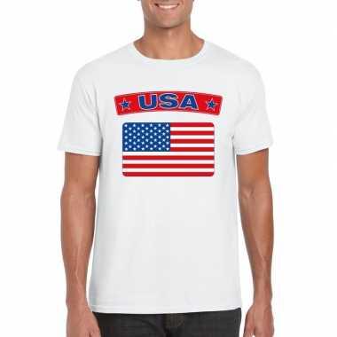 T shirt wit amerika vlag wit heren