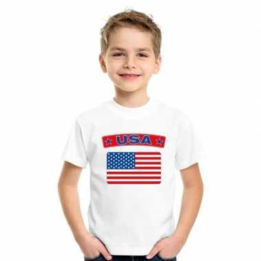 T shirt wit amerika vlag wit jongens meisjes