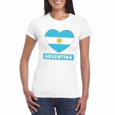 T shirt wit argentinie vlag hart wit dames